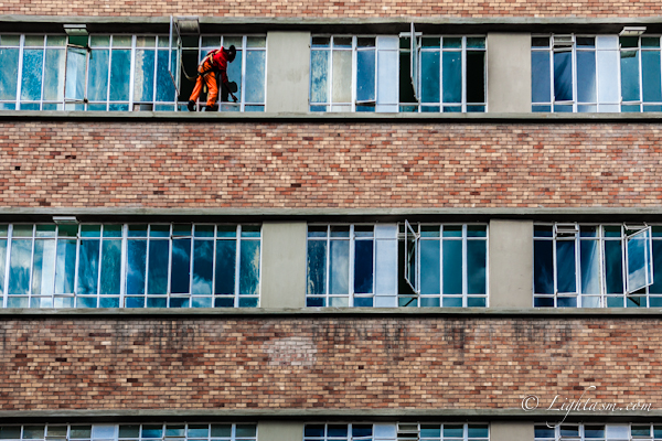 Guy Cleaning Windows