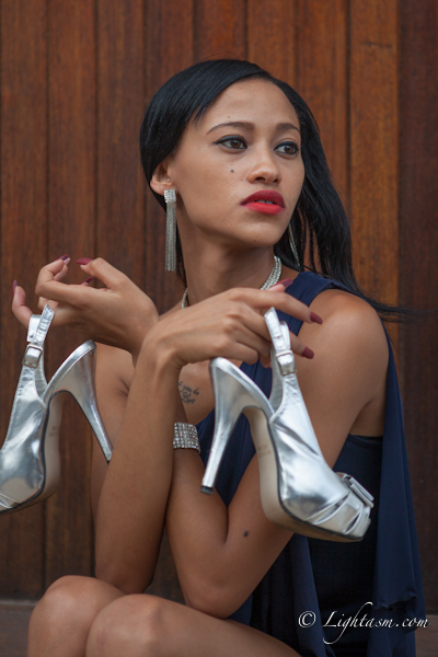 Instagram Model posing with Silver Stiletto's