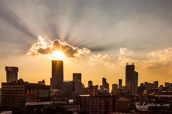 City sunset over Johannesburg