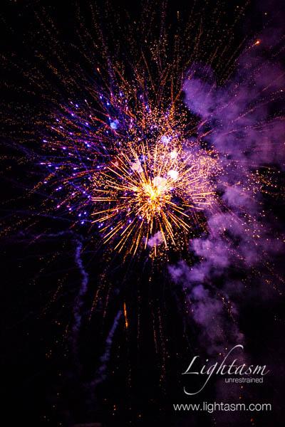 Purple Fireworks Exploding