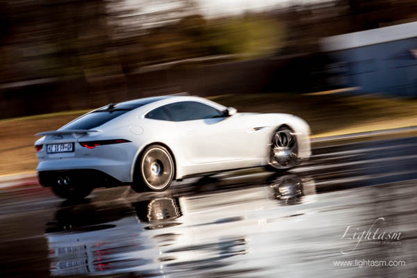 White Jaguar on the Skid Pan